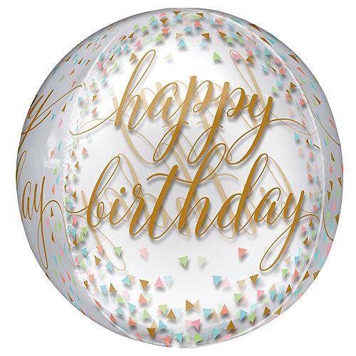 Confetti Happy Birthday Balloon - See Thru Orbz Image #1