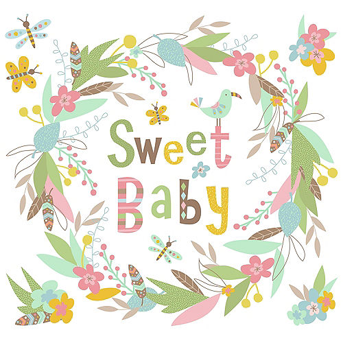 Sweet Baby Wreath Wall Decals 6ct Image #2