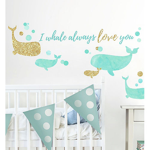 Blue & Gold Whale Wall Decals 32ct Image #1