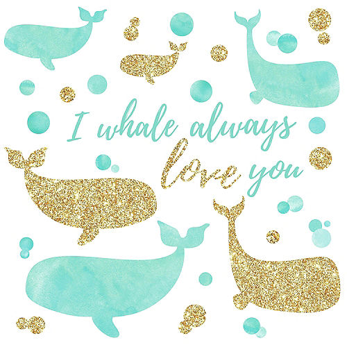 Blue & Gold Whale Wall Decals 32ct Image #2