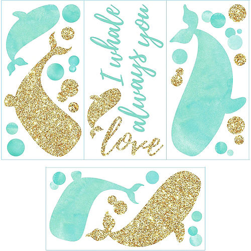 Blue & Gold Whale Wall Decals 32ct Image #3
