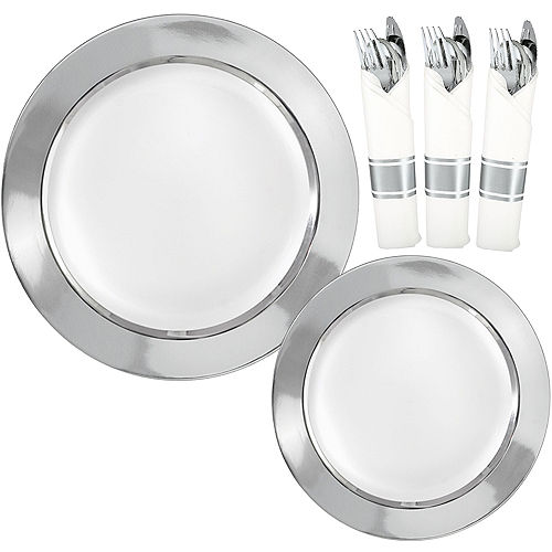 Premium Silver Border & Gold Tableware Kit for 20 Guests Image #1