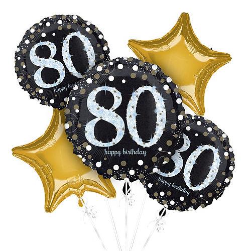 80th Birthday Balloon Bouquet 5pc - Sparkling Celebration Image #1