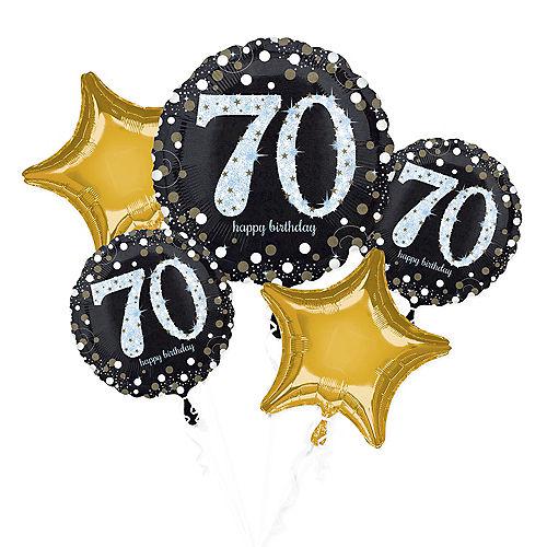 70th Birthday Balloon Bouquet 5pc - Sparkling Celebration Image #1