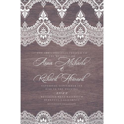 Custom Wood & Lace Wedding Invitation Image #1