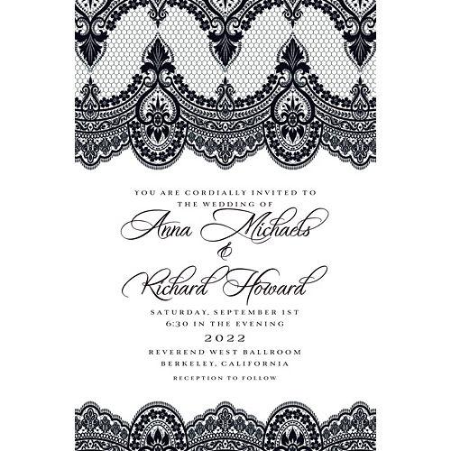 Custom Black & White Lace Wedding Invitation Image #1