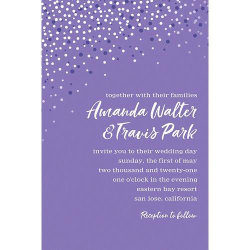 Custom Purple Champagne Bubbles Wedding Invitation Image #1