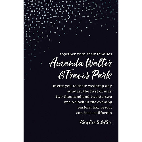 Custom Black Champagne Bubbles Wedding Invitation Image #1
