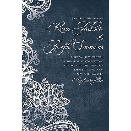 Custom White Lace & Chalkboard Wedding Invitation Image #1