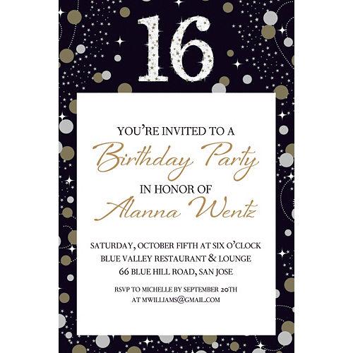 Custom Sparkling Celebration 16 Invitation Image #1