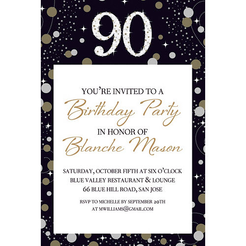 Custom Sparkling Celebration 90 Invitation Image #1