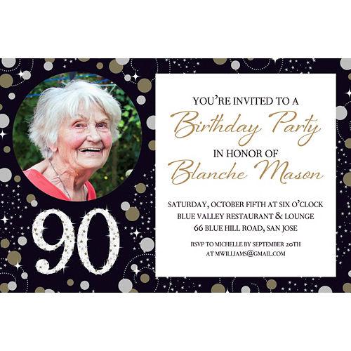 Custom Sparkling Celebration 90 Photo Invitation Image #1