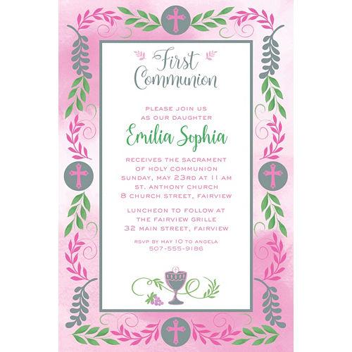 Custom Communion Day Girl Invitation Image #1