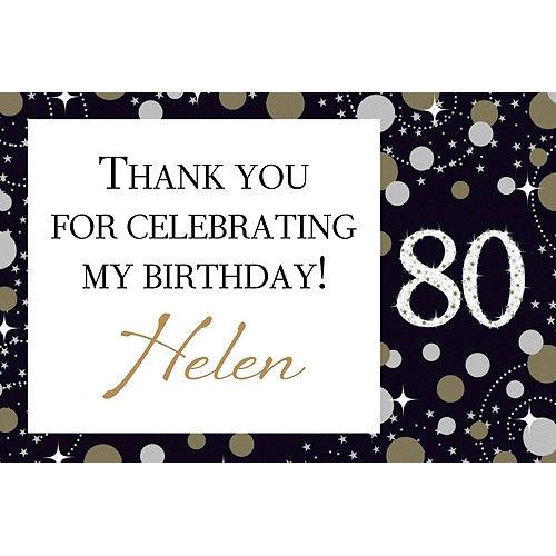 Custom Sparkling Celebration 80 Thank You Note Image #1