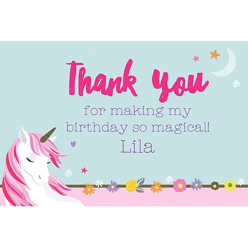 Custom Magical Unicorn Thank You Note Image #1