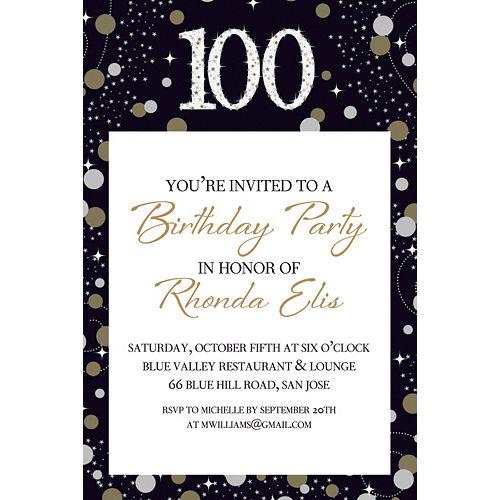 Custom Sparkling Celebration 100 Invitation Image #1