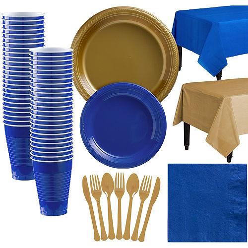 Gold & Royal Blue Plastic Tableware Kit for 50 Guests Image #1