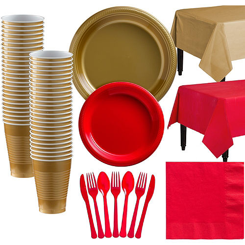 Gold & Red Plastic Tableware Kit for 50 Guests Image #1