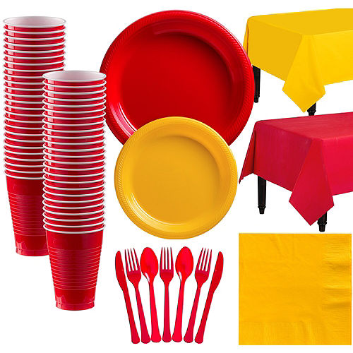 Red & Sunshine Yellow Plastic Tableware Kit for 50 Guests Image #1