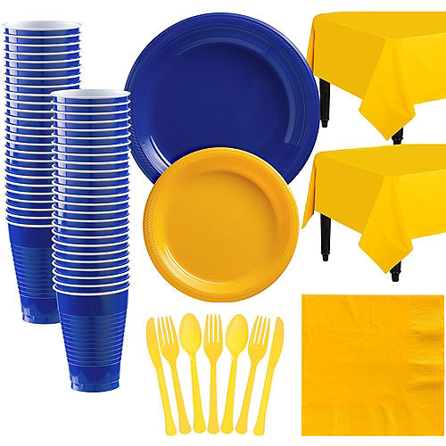 Royal Blue & Sunshine Yellow Plastic Tableware Kit for 50 Guests Image #1