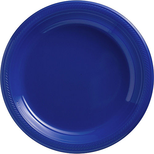 Royal Blue & Sunshine Yellow Plastic Tableware Kit for 50 Guests Image #3