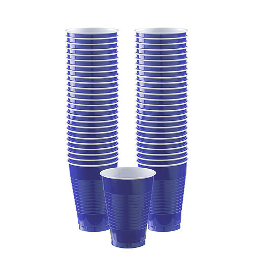 Royal Blue & Sunshine Yellow Plastic Tableware Kit for 50 Guests Image #5