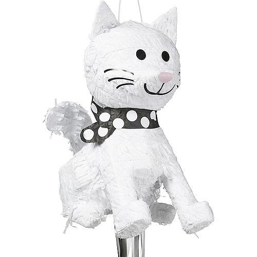 Pull String White Cat Pinata Image #1