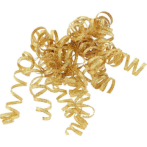 Glitter Gold Curled Gift Ribbons Image #1