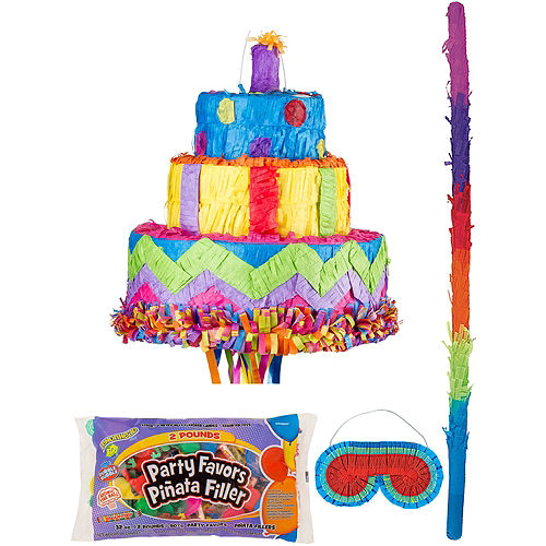 Birthday Cake Pinata Kit with Candy & Favors Image #1