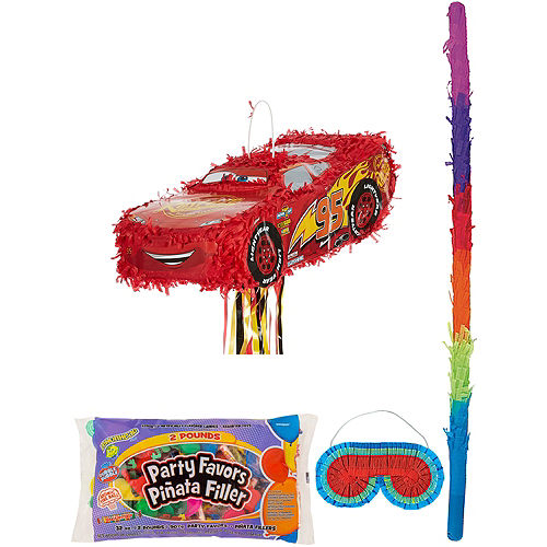 Lightning McQueen Car Pinata Kit with Candy & Favors - Cars 3 Image #1