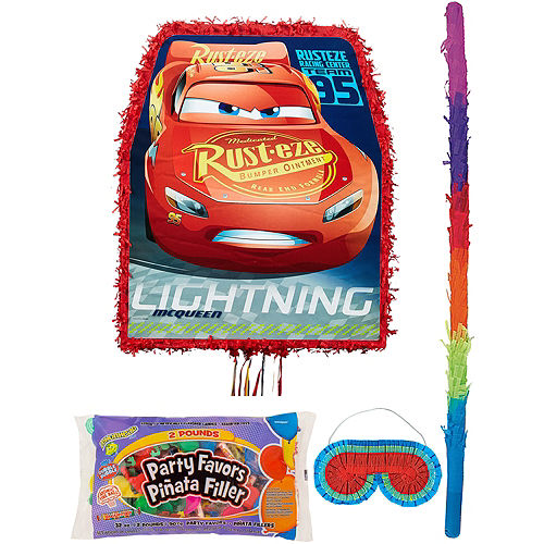 Lightning McQueen Pinata Kit with Candy & Favors - Cars 3 Image #1