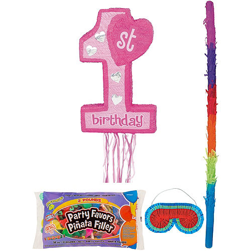 Pink 1st Birthday Pinata Kit with Candy & Favors Image #1