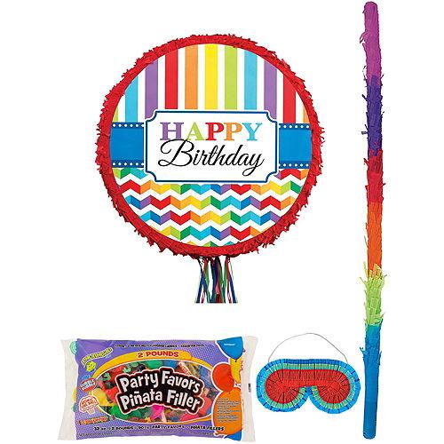 Rainbow Chevron Pinata Kit with Candy & Favors Image #1