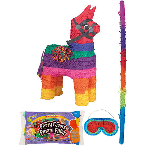 Rainbow Donkey Pinata Kit with Candy & Favors Image #1