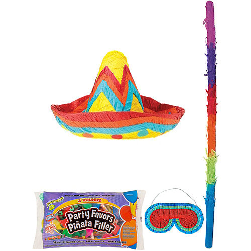 Sombrero Pinata Kit with Candy & Favors Image #1