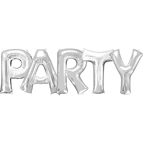 Giant Silver Party Letter Balloon Kit 6pc Image #1