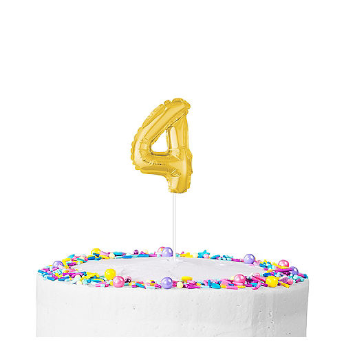 Air-Filled Gold Balloon Number 4 Cake Topper Image #1