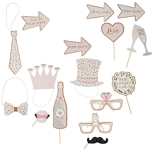 Pink Wedding Photo Booth Props 16ct Image #1