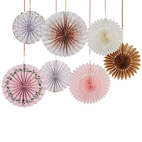 Pink, Rose Gold and White Paper Fan Decorations 7ct Image #1