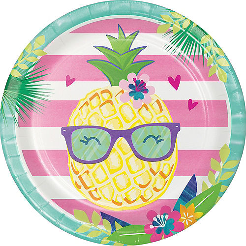 Striped Tropical Lunch Plates 8ct Image #1