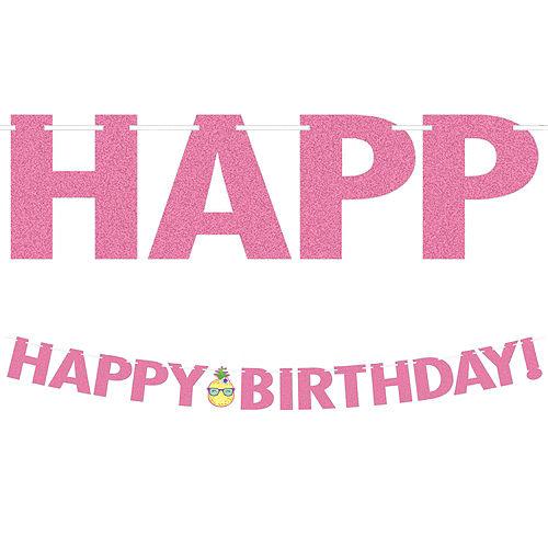 Glitter Tropical Birthday Banner Image #1