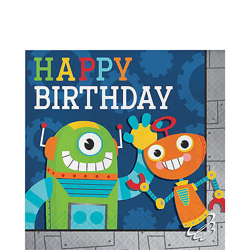 Robot Birthday Lunch Napkins 16ct Image #1