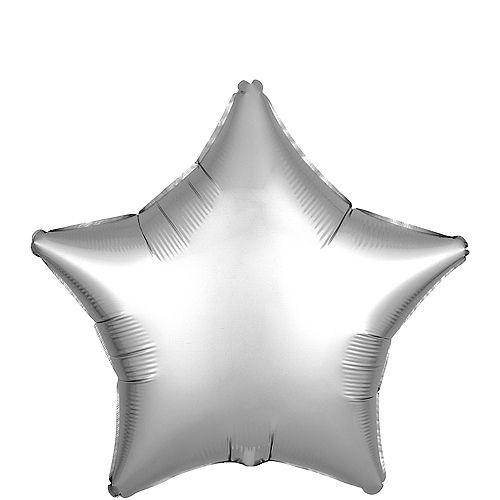 Silver Satin Star Balloon, 19in Image #1