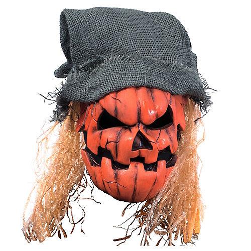 Adult Black Light Evil Pumpkin Face Mask Image #1