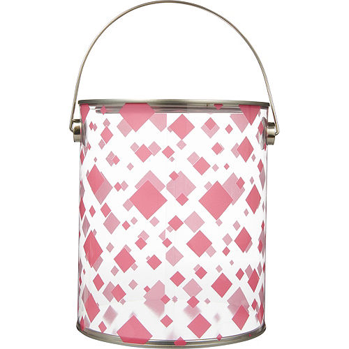 Large Bright Pink Square Plastic Favor Paint Can Image #1