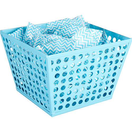 Caribbean Blue Metal Favor Basket Image #2