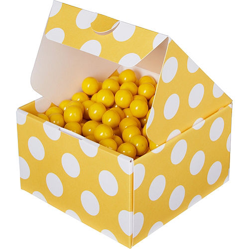 Sunshine Yellow Polka Dot Treat Boxes 10ct Image #1
