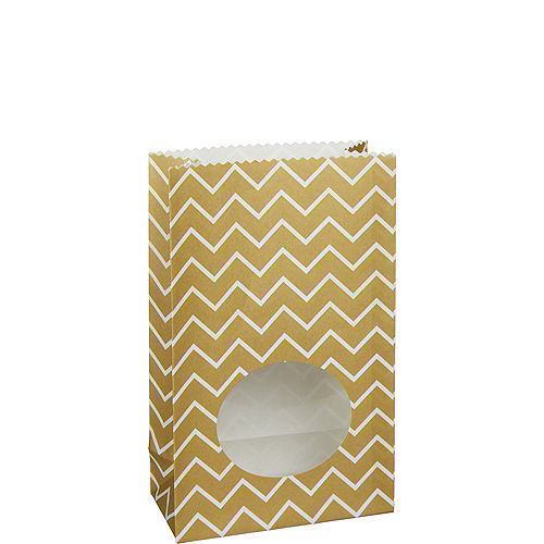 Medium Gold Chevron Paper Treat Bags with Seals 8ct Image #1