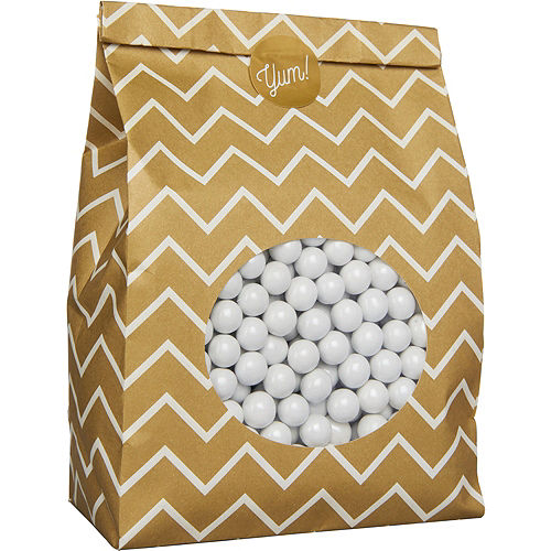 Medium Gold Chevron Paper Treat Bags with Seals 8ct Image #2