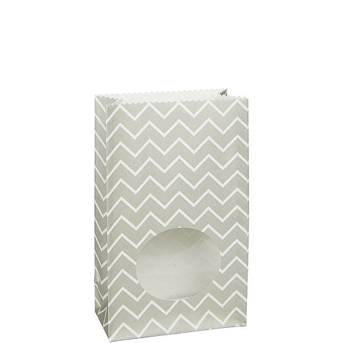 Medium Silver Chevron Paper Treat Bags with Seals 8ct Image #1